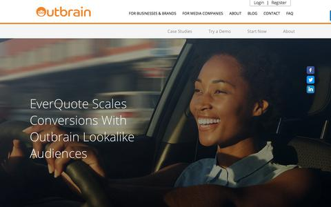 Screenshot of Case Studies Page outbrain.com - EverQuote Scales Conversions With Lookalike Audiences | Outbrain.com - captured April 19, 2018