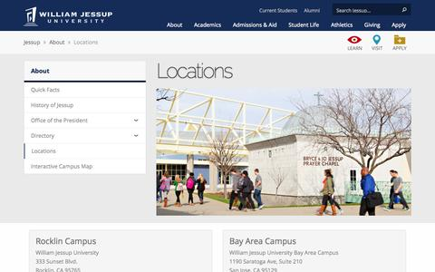 Screenshot of Contact Page Locations Page jessup.edu - Locations | William Jessup University - captured Oct. 26, 2014