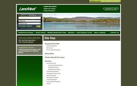 Screenshot of Site Map Page landvest.com - Sitemap - New England Luxury Real Estate, Timber, Consulting Services, Investment Properties - captured Sept. 30, 2014