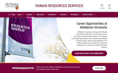 Screenshot of Jobs Page mcmaster.ca - Current Opportunities - Human Resources - captured July 19, 2019