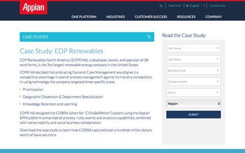 Screenshot of Case Studies Page appian.com - Case Study: EDP Renewables Sucess Story | Appian - captured June 25, 2018