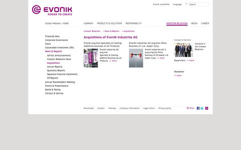 Acquisitions - Evonik Industries - Specialty Chemicals
