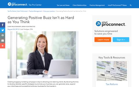 Screenshot of Press Page intuit.com - Generating Positive Buzz Isn't as Hard as You Think | Tax Pro Center | Intuit ProConnect - captured Nov. 21, 2019