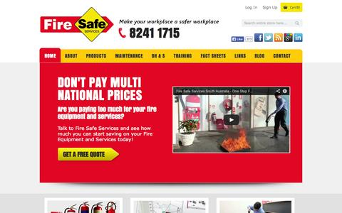 Screenshot of Home Page firesafeservices.com.au - Fire Extinguishers Adelaide | Fire Safety Equipment | Fire Safe Services - captured Oct. 6, 2014