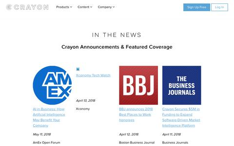Screenshot of Press Page crayon.co - Crayon In the News | Market and Competitive Intelligence News - captured June 11, 2018
