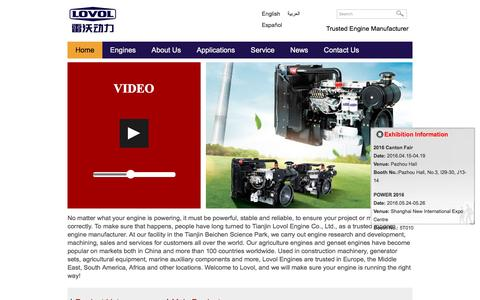Screenshot of Home Page engines-diesel.com - Diesel Engine Manufacturer | Lovol Engines - captured May 23, 2016