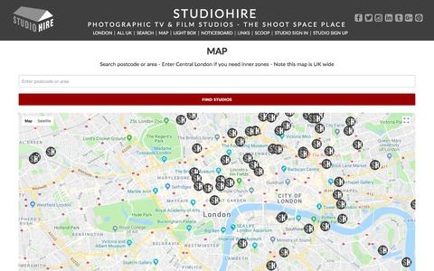 Screenshot of Maps & Directions Page studiohire.com - STUDIOHIRE - Map Studios - captured July 9, 2018