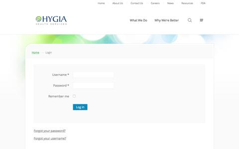 Screenshot of Login Page hygia.net - Login - Hygia Health Services - captured May 9, 2017