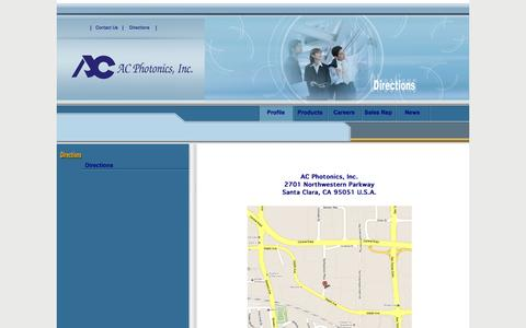 Screenshot of Maps & Directions Page acphotonics.com - AC_Directions - captured Oct. 4, 2014