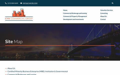 Screenshot of Site Map Page cvacre.com - Site Map - CVA Commercial Group - captured Nov. 9, 2018