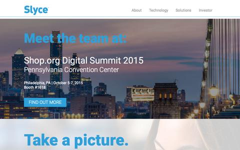 Screenshot of Home Page slyce.it - Slyce - Visual Search, Image & Product Recognition - captured Oct. 1, 2015
