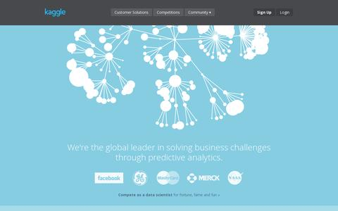 Screenshot of Home Page kaggle.com - Kaggle: Go from Big Data to Big Analytics - captured July 11, 2014