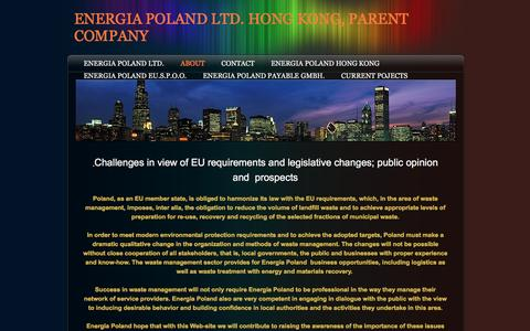 Screenshot of About Page energiapoland.com - About - ENERGIA POLAND LTD. HONG KONG, PARENT COMPANY - captured Jan. 29, 2016