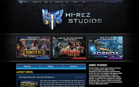Screenshot of Home Page hirezstudios.com - Hi-Rez Studios The Official Website of Hi-Rez Studios Alpharetta GA - captured Sept. 18, 2014