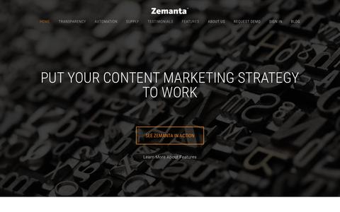 Screenshot of Home Page zemanta.com - Zemanta One - captured Feb. 29, 2016