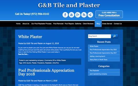 Screenshot of Blog poolsub.com - Dallas pool plaster, blog, tips, information, G&B Tile and Plaster - captured Sept. 25, 2018