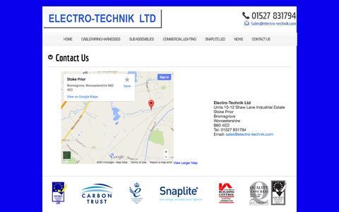 Screenshot of Contact Page electro-technik.com - Contact Us   Electro-Technik - captured Oct. 2, 2014