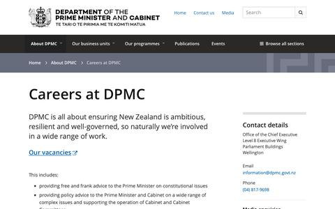 Screenshot of Jobs Page dpmc.govt.nz - Careers at DPMC | Department of the Prime Minister and Cabinet (DPMC) - captured Sept. 26, 2018