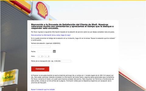 Screenshot of Landing Page shell.com - Shell Argentina Encuesta de Satisfacción del Cliente - Bienvenido - captured Aug. 12, 2016