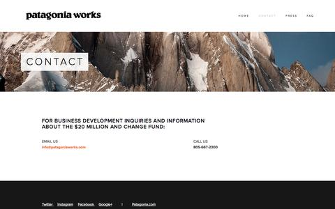 Screenshot of Contact Page patagoniaworks.com - CONTACT — Patagonia Works - captured Sept. 30, 2014