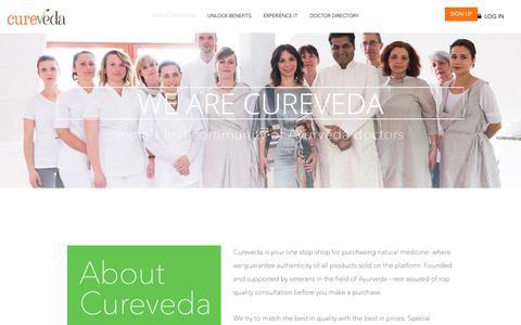 Screenshot of About Page cureveda.com - Best Ayurvedic Medicine & Products Online - About Us| CureVeda - captured Sept. 30, 2018