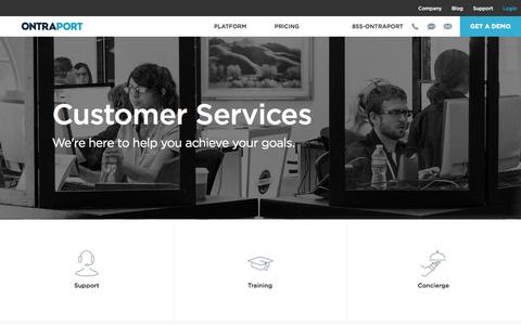 Screenshot of Support Page ontraport.com - ONTRAPORT Services | ONTRAPORT Customer Support, Training and Implementation - captured July 3, 2016