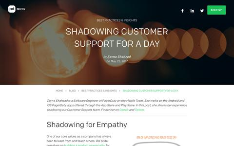 Screenshot of Support Page pagerduty.com - Shadowing Customer Support for a Day | PagerDuty - captured March 7, 2018
