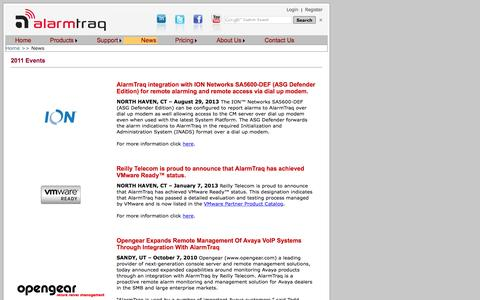 Screenshot of Press Page alarmtraq.com captured Dec. 24, 2015
