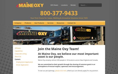 Screenshot of Jobs Page maineoxy.com - Join the Maine Oxy Team! - Maine Oxy | Specialty Gases and Welding Supplies - captured May 26, 2017