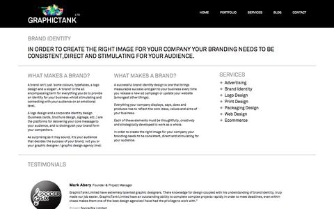 Screenshot of Services Page graphictank.co.uk - Brand Identity - Graphic tank - captured Oct. 3, 2014