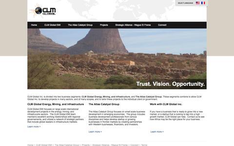 Screenshot of Home Page clmglobalinc.com - CLM Global Inc. - captured Sept. 26, 2014