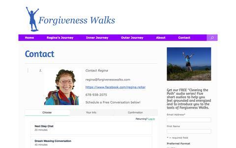Screenshot of Contact Page forgivenesswalks.com - Contact   Forgiveness Walks - captured Oct. 10, 2018