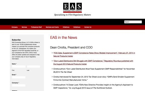 Screenshot of Press Page easconsultinggroup.com - EAS in the News - captured Oct. 1, 2014