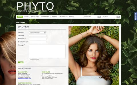 Screenshot of Contact Page phyto-usa.com - Nous contacter - captured Oct. 4, 2014