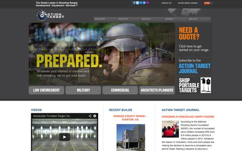 Screenshot of Home Page actiontarget.com - Action Target - The Global Leader in Shooting Range Development • Equipment • Services™ - captured Sept. 24, 2014