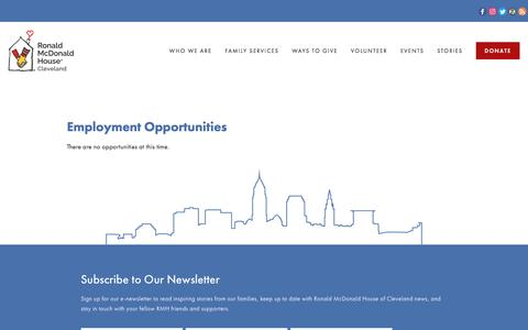 Screenshot of Jobs Page rmhcleveland.org - Careers — Ronald McDonald House Cleveland - captured Jan. 8, 2017