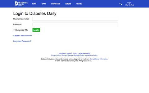 Screenshot of Login Page diabetesdaily.com - Login to Diabetes Daily - captured Aug. 1, 2016