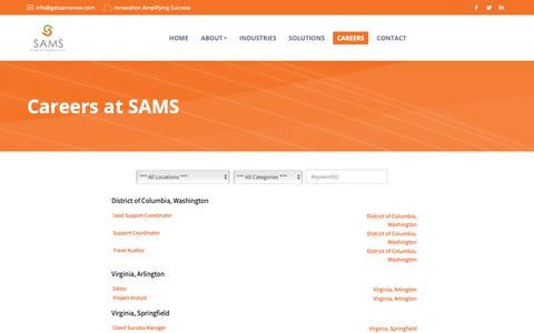 Screenshot of Jobs Page getsamsnow.com - Careers at SAMS | Strategy And Management Services, Inc. - captured March 27, 2019