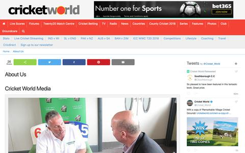 Screenshot of About Page cricketworld.com - About Us - captured Nov. 5, 2018
