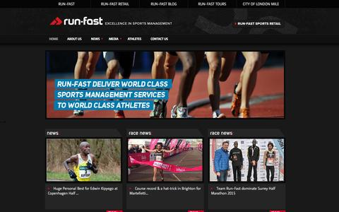 Screenshot of Home Page run-fast-management.net - run-fast, excellence in sports management - captured Sept. 28, 2015