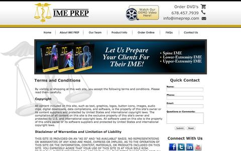 Screenshot of Terms Page imeprep.com - IME | DME | Independent Medical Examination | Defense Exam - captured Oct. 3, 2014