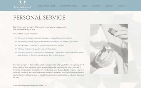 Screenshot of Services Page heart-in-diamond.com - Personal Service - Heart In Diamond - captured Oct. 25, 2018