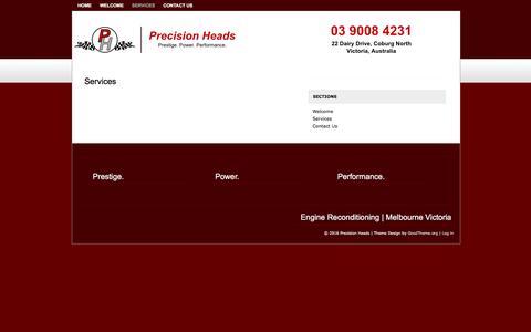 Screenshot of Services Page precisionheads.com.au - Engine Building Services | Precision Heads - captured July 15, 2016