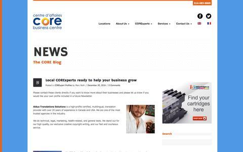Screenshot of Press Page corebizcentres.com - News - CORE Business Centres - captured July 9, 2017