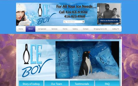 Screenshot of About Page iceboy.ca - Ice Boy Inc. For all your ice needs. Scarborough, Ontario | About - captured Nov. 18, 2016