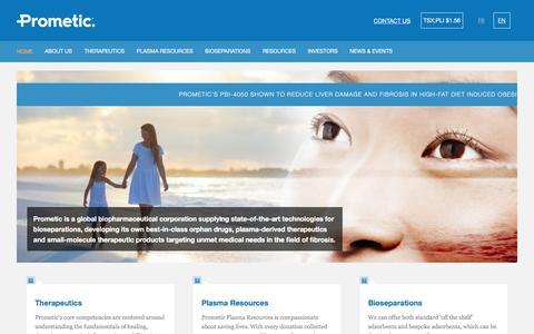 Screenshot of Home Page prometic.com - ProMetic | Prometic Life Sciences - captured Sept. 4, 2017