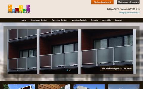 Screenshot of Home Page apartmentsrus.ca - Apartments R Us • Apartments For Rent in Victoria BC - captured July 25, 2016