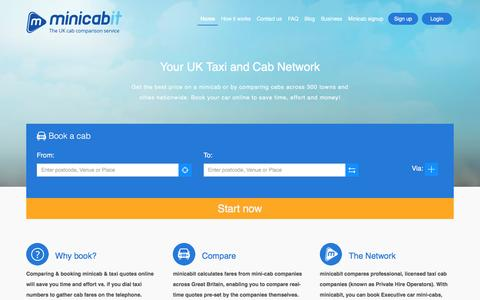 Screenshot of Home Page minicabit.com - minicabit.com - Book Cheap Taxis & Mini cabs Online - captured July 4, 2016