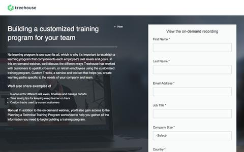Screenshot of Landing Page teamtreehouse.com - Webinar 3: Building a Customized Training Program for Your Team | Treehouse - captured May 28, 2018
