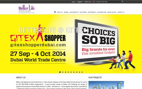 Screenshot of Home Page betterlifeuae.com - Better Life - captured Sept. 19, 2014